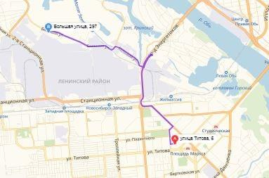 маршрут эвакуатора в новосибирске: ул. Титова 6 - ул. Большая 297а (8 км), буксир 24