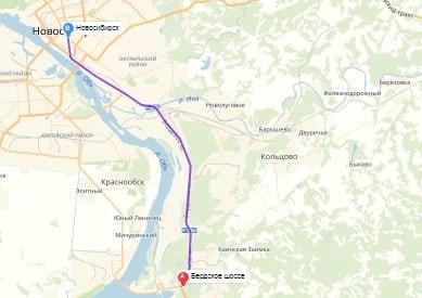 маршрут эвакуатора в новосибирске: Бердское шоссе - г. Новосибирск (26 км), буксир 24