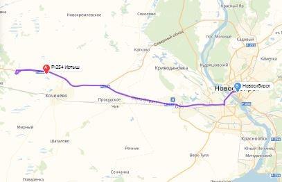 маршрут эвакуатора в новосибирске: Р-254 - г. Новосибирск (60 км), буксир 24