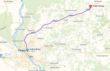 маршрут эвакуатора в носибирске:  Р-255 - г. Новосибирск (50 км), буксир 24