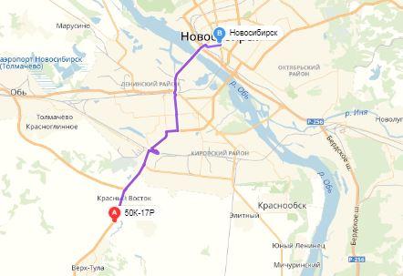 маршрут эвакуатора в новосибирске: трасса 50К-17Р - г. Новосибирск (20 км), буксир 24