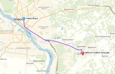 маршрут эвакуатора в новосибирске: п. Кольцово - г. Новосибирск (23 км), буксир 24